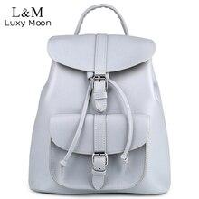 Women Backpack Vintage Leather Backpacks Drawstring Black Rucksack Brand Shoulder Bags For Teenage Girls Grey School Bag XA950H