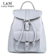Women Backpack Vintage Leather Backpacks font b Drawstring b font Black Rucksack Brand Shoulder font b
