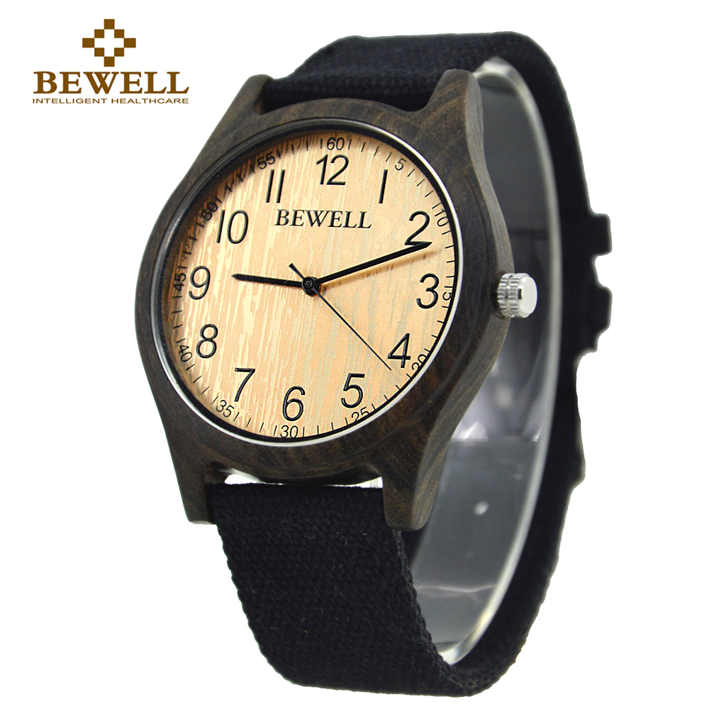 BEWELL Men's Wooden Watch Bamboo Canvas Strap Multi Color Replacement Brand Design Lightweight Men Casual Fashion 124B