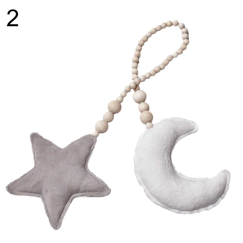 Peluche étoile lune oreiller perles corde pendaison bébé chambre berceau décor photographie accessoires enfants lit poussette suspendus berceaux