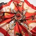 90 cm * 90 cm Diseño de Marca de 4 Colores de moda Bufanda de Invierno Bufandas de La Manera Nacional de Corea Elegante grande de La Flor Impresa gasa larga Bufanda