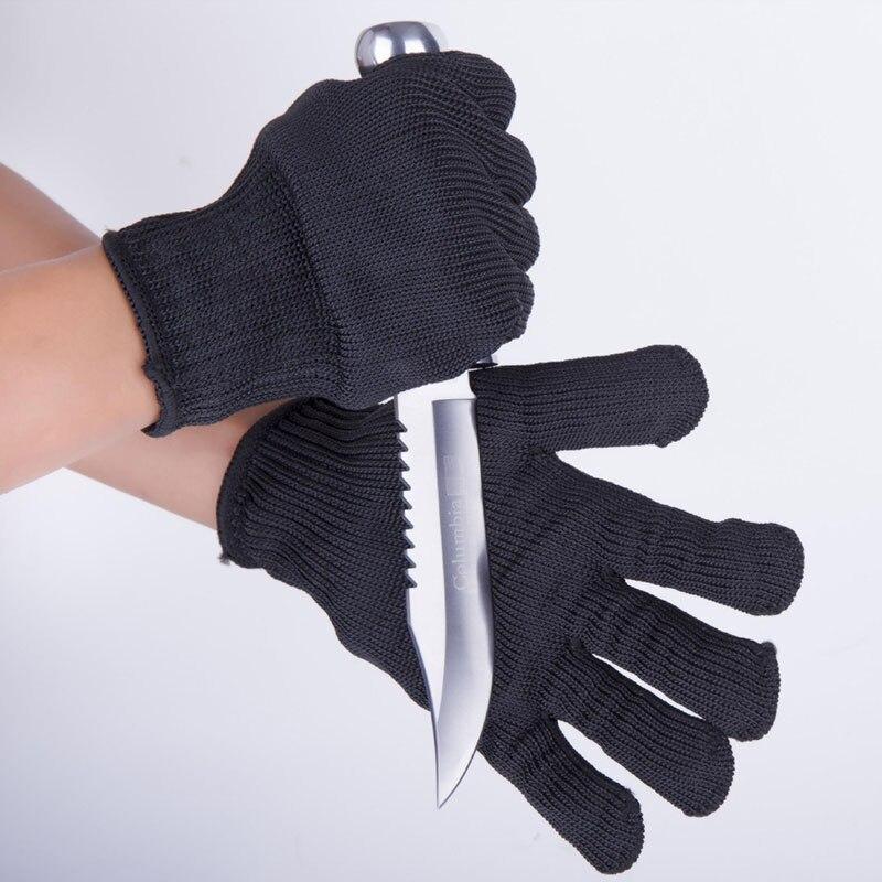 1 par/lote anti-corte luvas de aço fio de segurança corte-resistente luva anti-stab aço inoxidável grau 5 luvas de ferro durável hst02