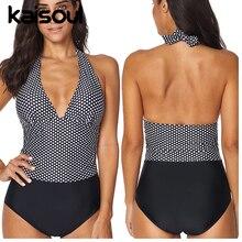 Swimwear Sexy Bikini One Pieces Women Swimsuit Push Up Print Swimming Beachwear New Arrival Vintage Padded Dots Halter Patchwork