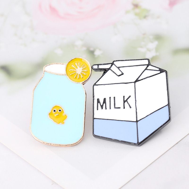 Metal <font><b>Bisexual</b></font> Cartoon Cute Duck Bottles Milk Boxes Aolly Brooches Enamel Brooch Pin Badge <font><b>Jewelry</b></font> Women Men Gift Collection image
