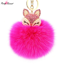 New Artificial Rabbit Fur Ball Keychain Fox Inlay Rhinestone Car Keychain Women Handbag Key Ring Delicate Gift Kay Holder