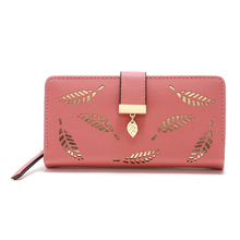 Fashion Women Wallet and Purses Long Wallets  Gold Hollow Leaves Pouch Handbag Lady Mobile Phone Bag Card Holder Coin