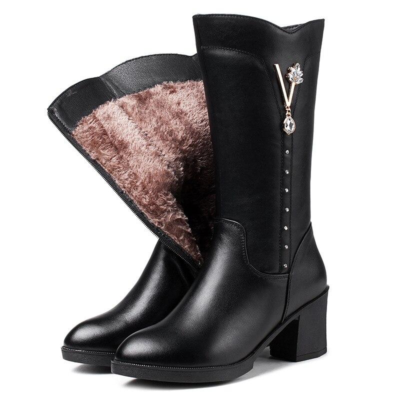2018 Lana Comodidad Imitación Plush black Moda Wool Botas Antideslizante Cuero Una Diamante Black Short Vaca Negro Invierno Nuevo Inside De Zapatos Mujer OqUZOr