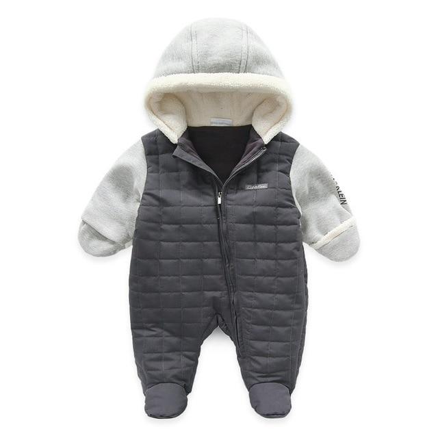 Марка Зима Мальчиков Ползунки Теплые Толстые Новорожденных Одежда для новорожденных Комбинезоны для зимы