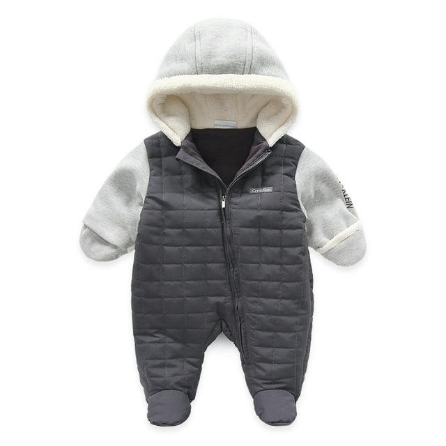 Marca Invierno de Los Bebés Del Mameluco Caliente Gruesa Recién Nacido Ropa Del Mono Del Bebé para el invierno