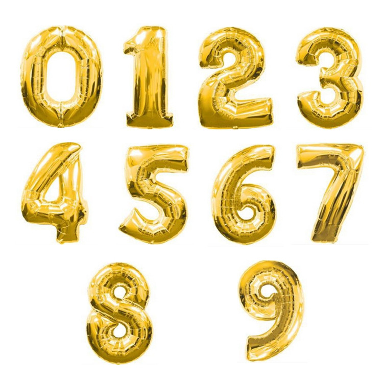 Gold Sliver 32 Inch  0-9  Large Helium Digital Air Ballons Foil Children Festival Birthday Party For Kids Cartoon Hat Toys #3