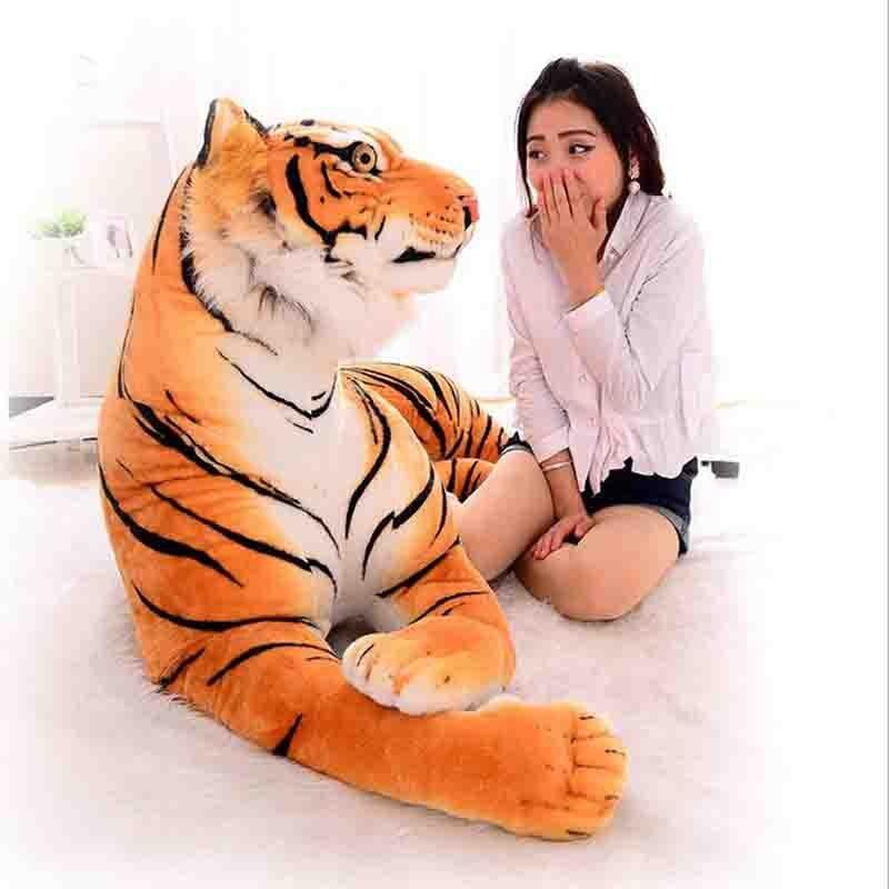 110 cm belle 3D Simulation tigre en peluche jouets assis tigre doux animaux jouets décoration de la maison