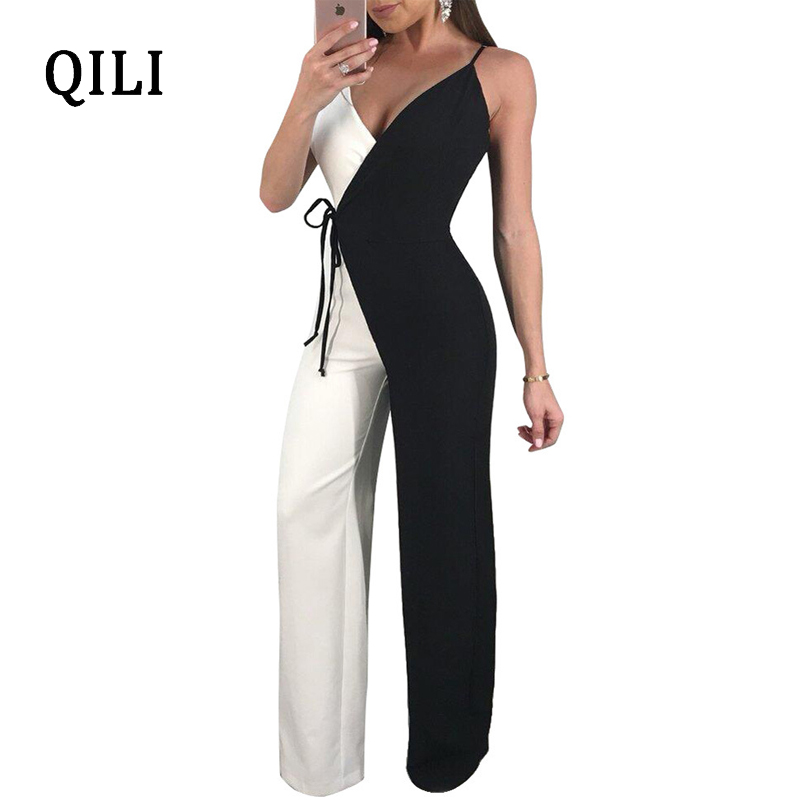 QILI Women Sleeveless Wide Leg   Jumpsuits   Elegant Strap Double Color Patchwork   Jumpsuit   Casual   Jumpsuit   Rompers With Belted
