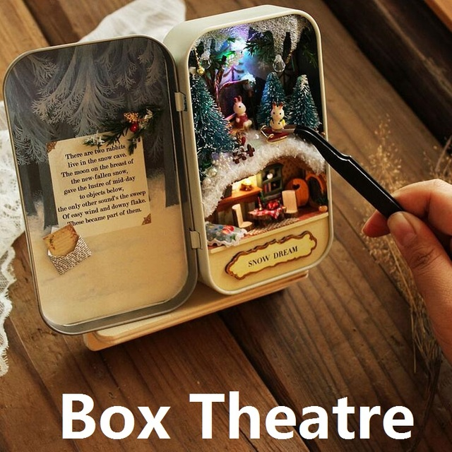 Box Theatre 3Style(Forest Rhapsody/Island Adventures/Snow Dream)Creative Gift DIY Mini Light Doll House 3D Micro Landscape Model
