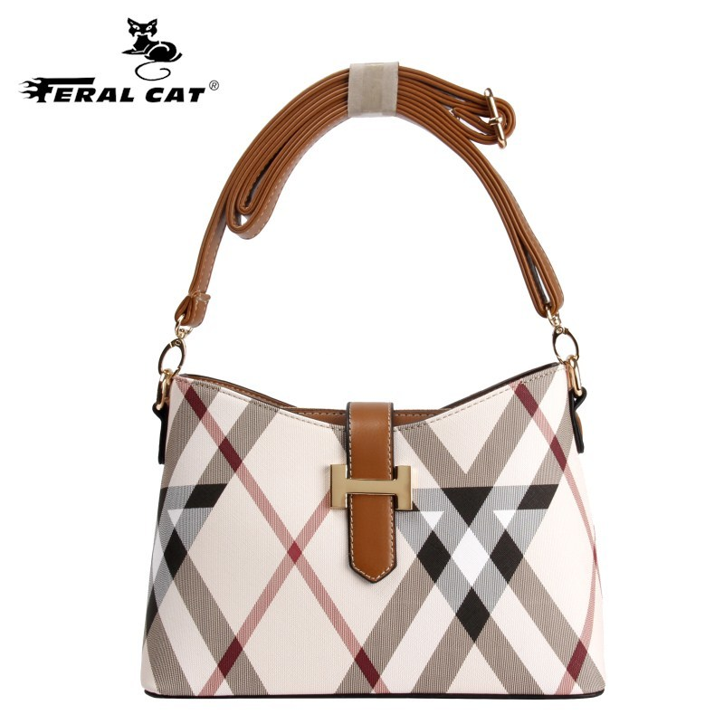FERAL CAT Women Plaid Messenger Bag Crossbody Baguette Famous Designer Brand Shoulder Bags And Leather Luxury Mini Handbags 6021 famous messenger bags for women fashion crossbody bags brand designer women shoulder bags bolosa