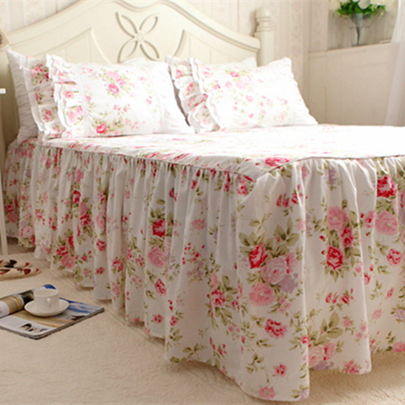 Garden rose print bedspread 100% cotton bedding princess bed sheet handmade twinkle proc ...