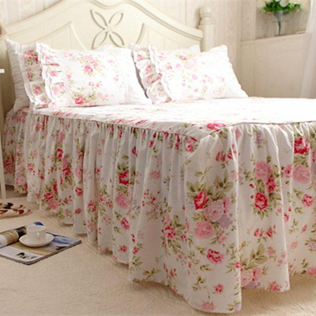 garden rose print bedspread 100 cotton bedding princess bed sheet handmade twinkle processing bedspreads wedding - Princess Bed