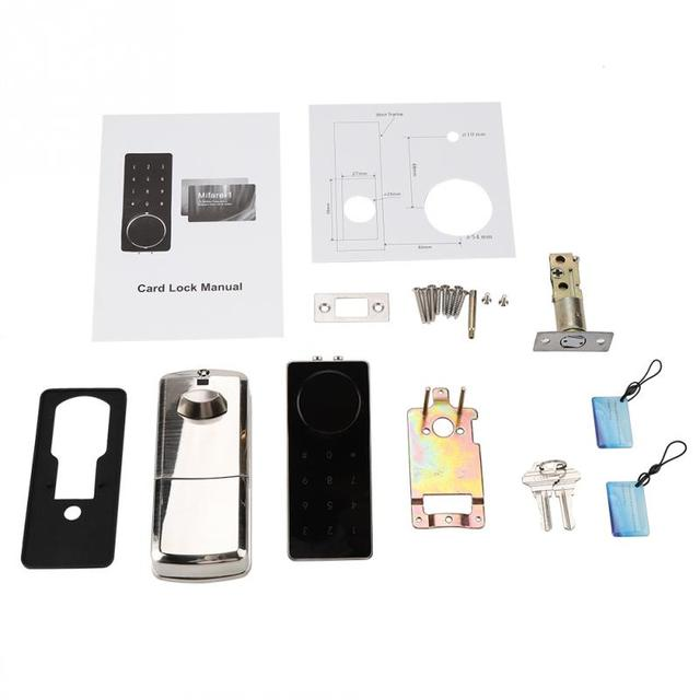 Smart Electronic Door Lock Touch Screen Keypad Digital Code Lock Combination Password Door Locks Locker with Keys w/ IC Card