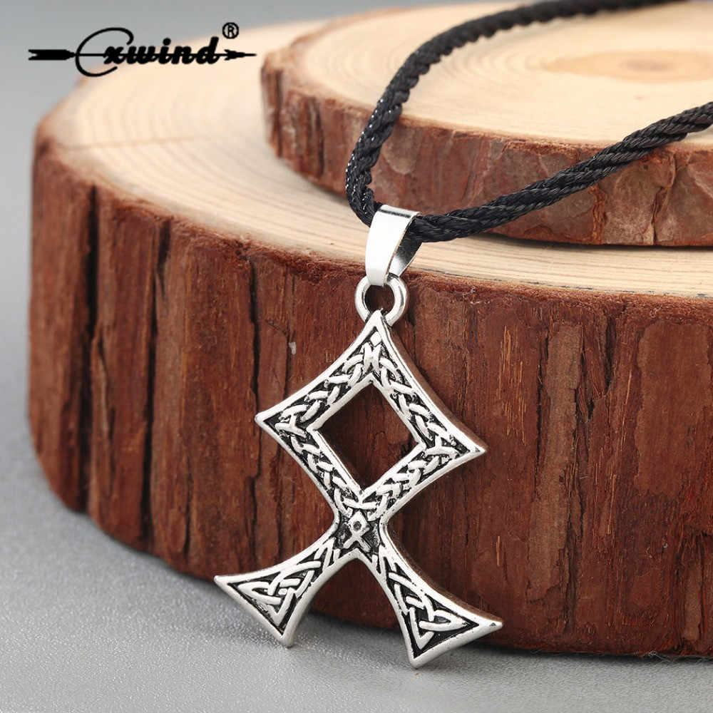 Cxwind Viking Chữ Rune Mặt Dây Chuyền & Cổ Bắc Âu Bùa Hộ Mệnh Rune Cổ Chéo dành cho Nam Ngoại Giáo Vĩ Làm Chân Mặt Dây Chuyền Trang Sức Phụ Kiện
