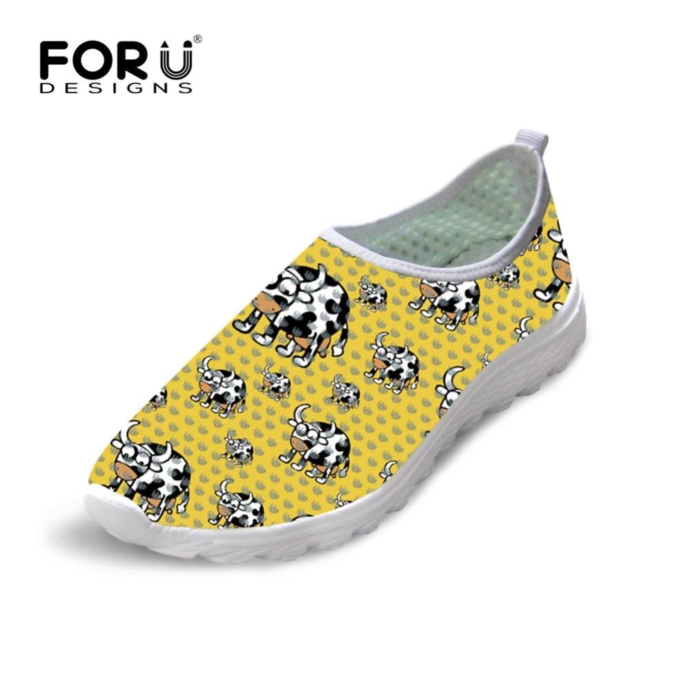 FORUDESIGNS Summer Women Air Mesh Shoes Cute Cow Puzzle Prints Breathable Lightweight Casual Shoes for Ladies Girls Womens Shoe фонарь ручной led lenser p2 bm