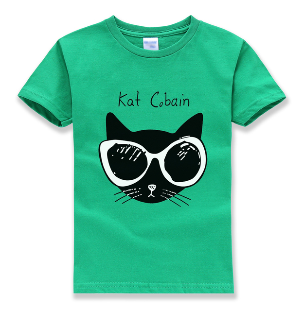 funny kat printing tops tee shirts kids 2018 summer new fashion brand streetwear homme t-shirts hipster cute tshirt boys girls