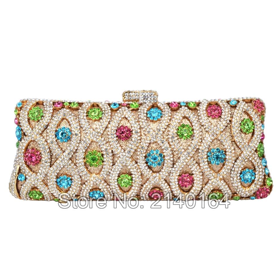 Multi Color Evening Bag Luxury Diamond Crystal Evening Purse Party Bag Ladies Clutch handBag Wedding Bridal Bag Pochette88257