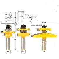 3 Stks 1/2 ''Schacht Rail Stile edge Blade Cutter Panel Kast Frezen Set-in Frees van Gereedschap op