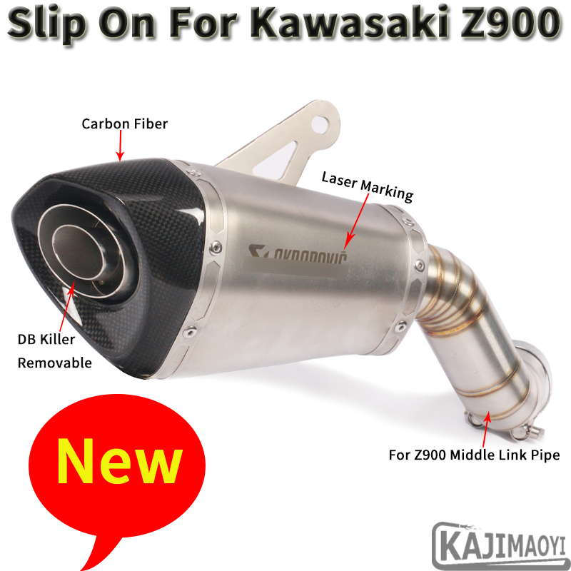 Slip On For Kawasaki Z900 Ninja900 2018 Motorcycle Akrapovic Exhaust Escape Modified Middle Connect Link Pipe Muffler DB Killer