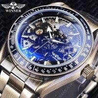 Winner Retro Bronze Military Design Blue Glass Waterproof Mens Automatic Mechanical Skeleton Watches Top Brand Luxury