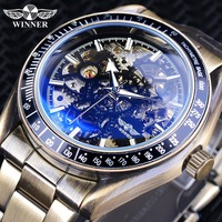 Winner Retro bronce diseño militar azul vidrio impermeable hombres automático esqueleto mecánico relojes de marca superior de lujo reloj Masculino