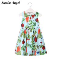 Sundae Angel Summer Dress Girl Round Neck Sleeveless A Line Print Radish Pattern For Girls Dresses