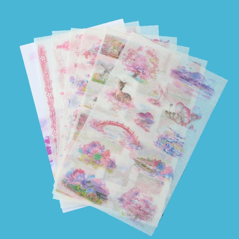 6pc/bag, Creative Ancient Style Transparent Chinese Sticker Children Decoration Cartoon Manual Scrapbook Reward Stickers