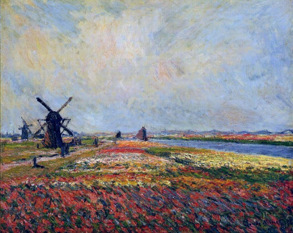 High quality Oil painting Canvas Reproductions Fields of Flowers and Windmills near Leiden (1886) by Claude Monet hand painted