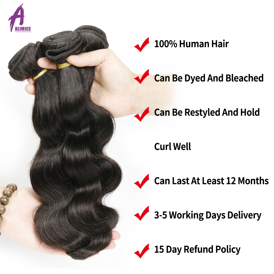 Alimice Hair Malaysian Body Wave Hair Extension Ikke-Remy Hair 100% - Menneskehår (sort) - Foto 4