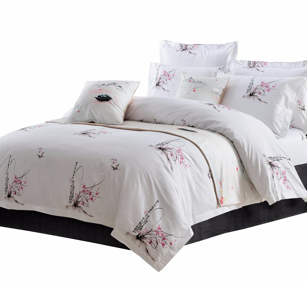 40s 100 Cotton Bedding Set White Chinese Style Printing Twin King Queen Size Bed Hotel