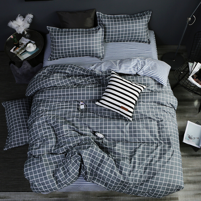 Home textile AB side bedding set grey geometric bedding housse de couett kid bed linen set blue bedclothes duvet cover set sheet