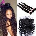 7A virgen del indio del pelo suelto Wave seda Base Frontal con Bundles 4 unids oreja a oreja 13 x 4 encaje Frontal con paquete productos para el cabello Cara