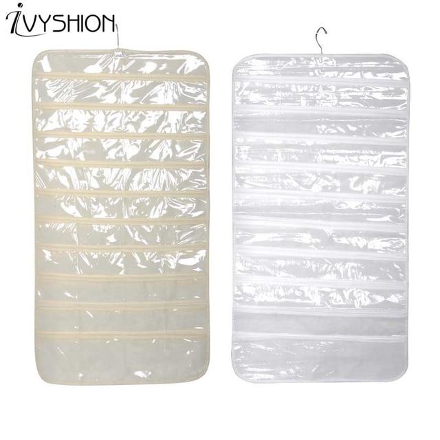 IVYSHION 80 Grid Non Woven Fabric PVC Jewelry Storage Bag Hanging