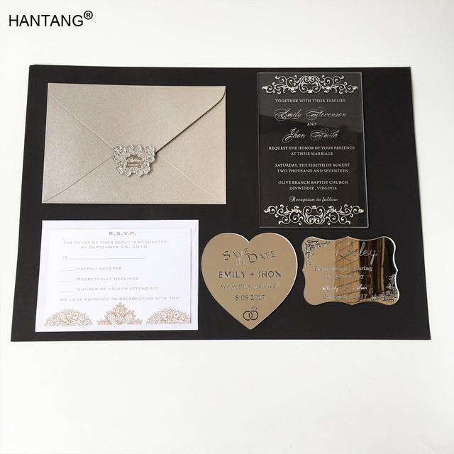 115x175mm Rectangle Shape Clear Acrylic Wedding Invitation Card Set