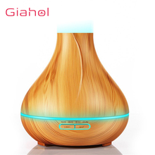 Electric Air Humidifier With Wood Grain Ultrasonic Aromatherapy Diffuser Aroma Treatment For Home 400ml