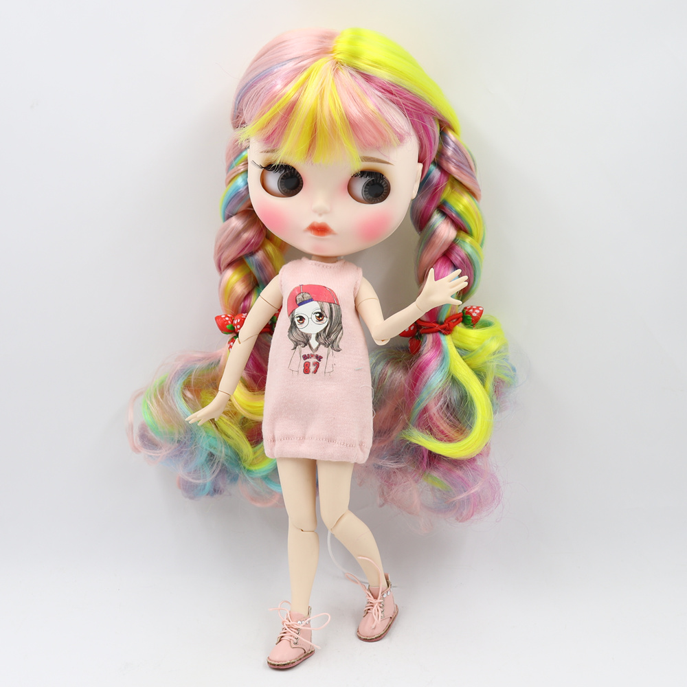 Blyth nude doll white skin Color mixed color long curly hair 1 6 JOINT body new