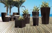 Paito black rattan four pieces flower pot set furniture sale