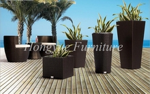 Paito black rattan four pieces flower pot set furniture sale