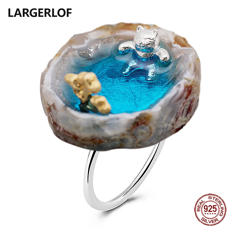 LARGERLOF 925 Silver Ring Labradorite Ring Silver 925 Women Fine Jewelry Silver 925 Jewelry Vintage Ring Sterling Silver RG50161 yookie yk180 silver