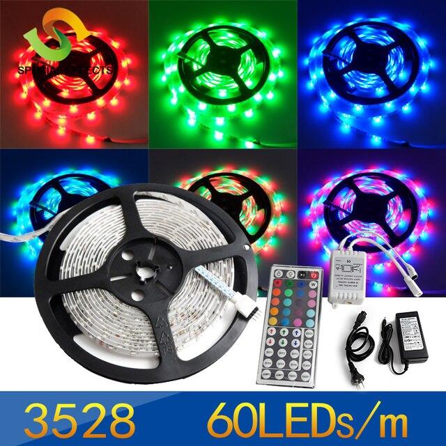 5M 60leds/M rgb 3528 SMD LED Strip Light 300 Leds 12V Waterproof + 44 key IR Control+12V/2.5A Power Supply,free shipping