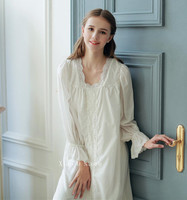 Ladies Sleepwear Elegant Nightdress Cotton Nightgown Royal Vintage Gowns Women Bedgown Soft Nightgown Long Dress Comfort