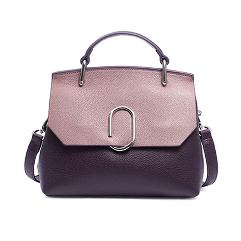все цены на The classic temperament new Genuine Leather women handbags Personality Contrast shell type chic soft face women messenger bags онлайн