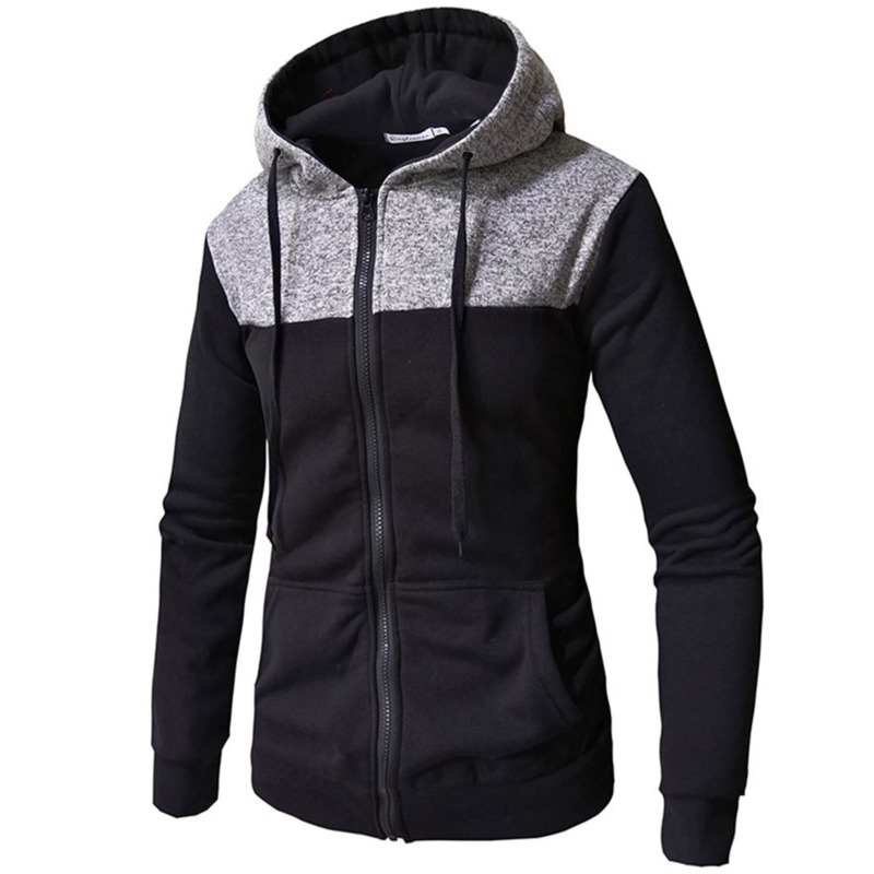 New Mens Autumn Winter Stitching Color Long Sleeve Hooded Pullover Hoodie Sweatshirt Men Casual Hoodies Male Tops 3colour