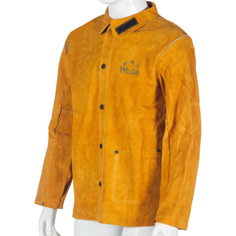 ФОТО Cowhide welding jackets work wear male long-sleeve split cow leather spark protective welder clothing