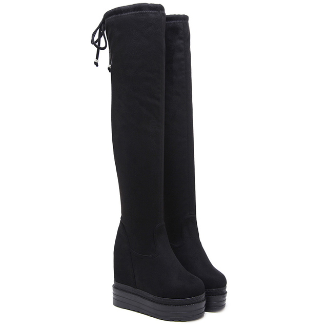3fa036273a8 Woman Boots Autumn Winter Black Suede Over Knee Boots Womens Wedges  Platform Thigh High Boots 11cm High Heels Boots