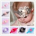 Menina Headband da Flor Do Laço de Strass Faixas de Cabelo Da Fita Do Cabelo Do Bebê Nascer Newborn Fotografia Props Crianças Acessórios Para o Cabelo